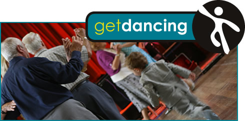 Get Dancing logo and photograph of people dancing